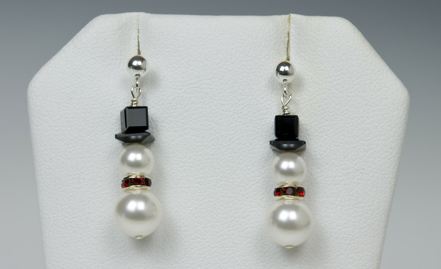 Snowmen w/ Red Scarf Earrings
